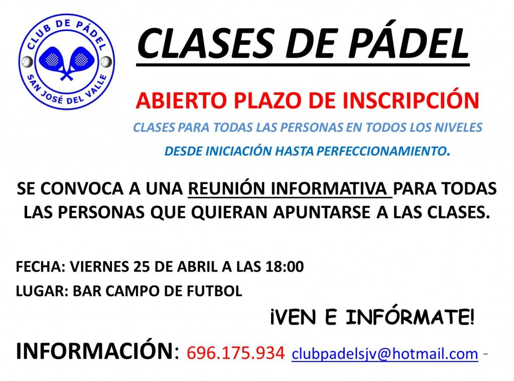 CLASES PADEL 2014