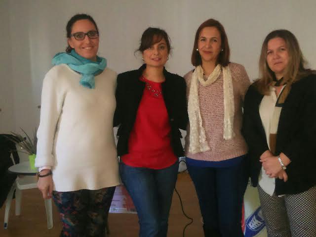 foto la del equipo de Asistencia a la Mujer,derecha a izq. Maria del Carmen Ariza (psicóloga) ,Maria del Mar Medina(letrada),Vanesa Pérez (Concejala de Bienestar Social)Ana Cantizano( Técnico Mayores Activos).