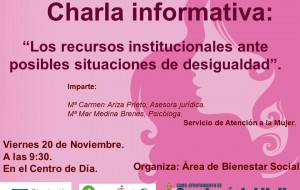 Charla informativa «Los recursos institucionales ante posibles situaciones de desigualdad»