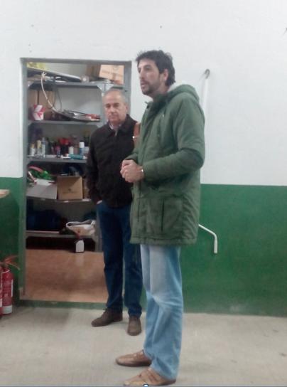 El Alcalde D. Antonio González Carretero en el acto de inicio del Plan de Cooperación Local dando la bienvenida a los trabajadores.