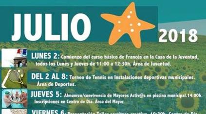 Programación de las Actividades Municipales para este mes de Julio