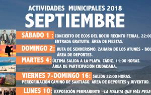 Programación de las Actividades Municipales para este mes de Septiembre.