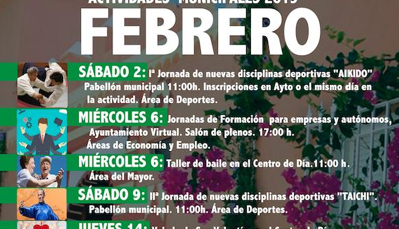 Programación de actividades municipales Febrero 2019
