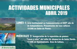Programación de actividades municipales Abril 2019