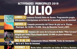 Programación de Actividades Municipales para el mes de Julio 2019.