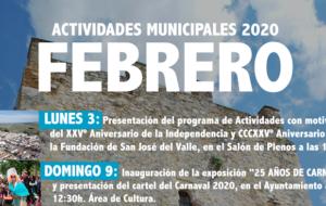 Programa de Actividades Municipales mes de Febrero